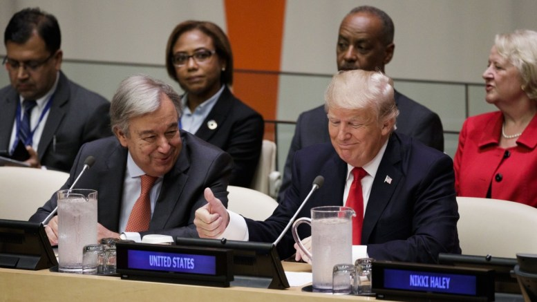US President Donald J. Trump (R) with United Nations Secretary General Antonio Guterres (L) during a meeting about reforming the United Nations the day before the opening of the General Debate of the 72nd United Nations General Assembly at UN headquarters in New York, New York, USA, 18 September 2017. The annual gathering of world leaders formally opens 19 September 2017, with the theme, 'Focusing on People: Striving for Peace and a Decent Life for All on a Sustainable Planet.' EPA, JUSTIN LANE