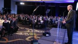 Ο Ταγίπ Ερντογάν στην εκδήλωση του Marriott Marquis. Φωτογραφία Τουρκική Προεδρία