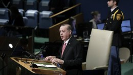 President of Turkey Recep Tayyip Erdogan speaks during the opening session of the General Debate of the 72nd United Nations General Assembly at UN headquarters in New York, New York, USA, 19 September 2017.   EPA, JASON SZENES