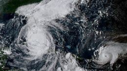 A handout photo made available by the National Oceanic and Atmospheric Administration (NOAA) on 10 September 2017 shows a geocolor image captured by the GOES-16 satellite of Hurricanes Irma (L) and Jose (R) in the Atlantic Ocean, 09 September 2017. EPA, NOAA HANDOUT, EDITORIAL USE ONLY