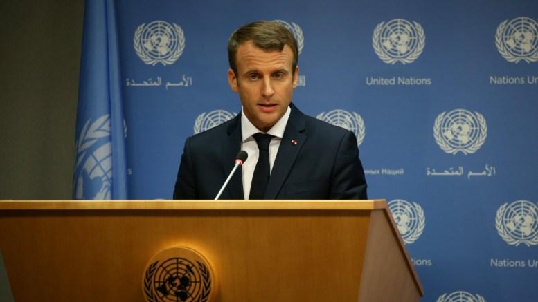 French President Emmanuel Macron  speaks at a press . EPA/PETER FOLEY