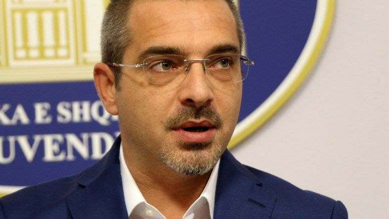 Former Albanian Interior Minister Saimir Tahiri speaks during a press conference in Tirana, Albania, 17 October 2017 (Issued on 19 October 2017). Saimir Tahiri was mentioned in some interceptions made by Guardia di Finanza Italian Police, about guns and drugs traffic made by a crew which claimed to have his support. EPA, MALTON DIBRA
