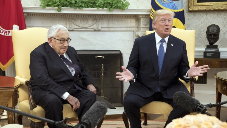 File Photo: US President Donald J. Trump (R) delivers remarks to members of the news media while hosting former Secretary of State Henry Kissinger (L) in the Oval Office of the White House, in Washington, DC, USA. EPA, MICHAEL REYNOLDS