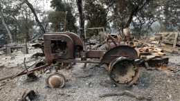 A burnt out tractor and home destroyed by fire in the Napa Valley Wine country in Napa, California, USA, 11 October 2017. Multiple wildfires scattered throughout Napa, Sonoma and Mendocino counties, have destroyed more than 3,000 homes and businesses in their path and left at least 26 people dead.  EPA/JOHN G. MABANGLO