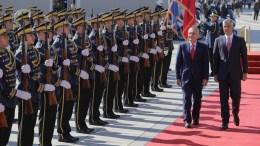 File Photo: President of the Republic of Kosovo Hashim Thaci (R) and his Albanian counterpart Ilir Meta (L) inspect the honor guard of the Kosovo Security Force (KSF) in Pristina, Kosovo, 11 October 2017. EPA, VALDRIN XHEMAJ