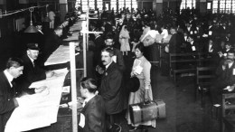 An undated handout photo made available by the US National Parks Service (NPS) showing immigrant inspection in Great Hall, Ellis Island, in Upper New York Bay, New York, USA, as immigrants await the legal inspection trying to make it into America. EPA/NPS HANDOUT MANDATRY CREDIT: NPS HANDOUT EDITORIAL USE ONLY/NO SALES