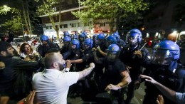 FILE PHOTO. Militants of Italian far-right movement 'Forza Nuova' (New Force) clashes with police during the 'Walk for Safety' at Magliana, a peripheral district of Rome, Italy. EPA/MASSIMO PERCOSSI