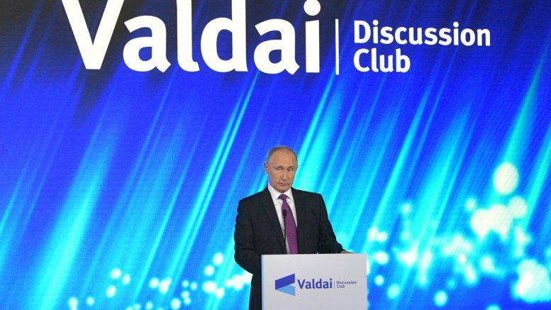 Russian President Vladimir Putin speaks at a plenary session titled 'The World of the Future: Moving Through Conflict to Cooperation', of an annual meeting of the Valdai International Discussion Club in Sochi, Russia, 19 October 2017.  EPA/ALEXANDER ZEMLIANICHENKO / POOL MANDATORY CREDIT