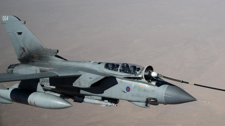 FILE PHOTO. A Royal Air Force (RAF) Tornado GR4 is seen refuelling. EPA/DAN HIMBRECHTS AUSTRALIA AND NEW ZEALAND OUT