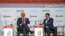 FILE PHOTO: Albanian Prime Minister Edi Rama (L) and Macedonian Prime Minister Zoran Zaev (R) attend the session of Summit 100, business leaders of South East Europe in Skopje, the former Yugoslav Republic of Macedonia, 17 October 2017. EPA, GEORGI LICOVSKI