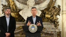 A handout photo made available by the Argentinian Presidency, shows Argentinian president Mauricio Macri during a press meeting accompanied by the head of the Cabinet of Ministers Maurcio Pena (L) a day after the legislative elections, at the Casa Rosada in Buenos Aires, Argentina, on 23 October 2017. The ruling party Cambiemos came out on top in Sunday's legislative elections.  EPA/Argentinian Presidency / HANDOUT  HANDOUT EDITORIAL USE ONLY/NO SALES