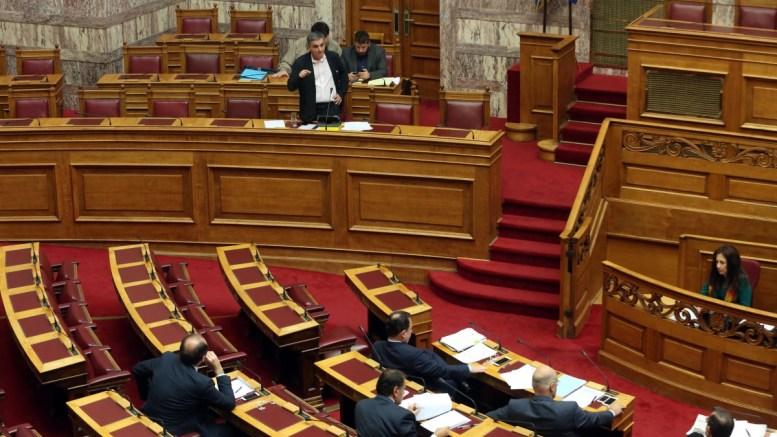Ο ΥΠΟΙΚ Ευκλείδης Τσακαλώτος μιλά στη συζήτηση και ψήφιση σχεδίου νόμου του Υπουργείου Οικονομικών στη Βουλή. ΑΠΕ-ΜΠΕ, Αλέξανδρος Μπελτές