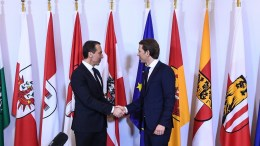File Photo: Austrian Chancellor Sebastian Kurz (R), the leader of the Austrian Peoples Party (OeVP) and outgoing Austria's Chancellor Christian Kern shake hands during the hand over ceremony in Vienna, Austria, 18 December 2017. EPA, CHRISTIAN BRUNA