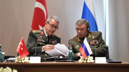 FILE PHOTO. A handout photo made available by Turkish Armed Forces General Staff Press Office shows Chief of the General Staff of the Turkish Armed Forces, Hulusi Akar (L) and Russian Chief of General Staff General Valery Gerasimov (R). EPA/TURKISH ARMED FORCES GENERAL STAFF PRESS OFFICE HANDOUT HANDOUT EDITORIAL USE ONLY/NO SALES