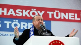 Turkish President Recep Tayyip Erdogan speaks during a opening ceremony of the Kasimpasa district highway tunnel in Istanbul, Turkey, 27 January 2018. EPA, TURKISH PRESIDENTAL PRESS OFFICE HANDOUT, EDITORIAL USE ONLY