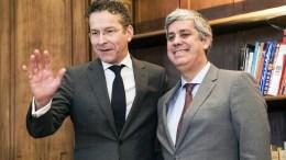 Eurogroup President Mario Centeno (R) and former President of Eurogroup Jeroen Dijsselbloem (L). FILE PHOTO. EPA/ETIENNE LAURENT