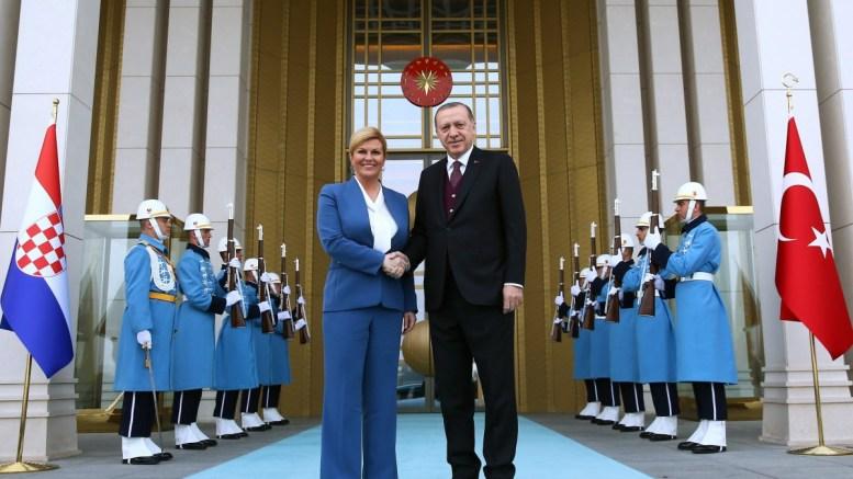 FILE PHOTO: Turkish President Recep Tayyip Erdogan (R) and President of Croatia, Kolinda Grabar-Kitarovic (L) in Ankara, Turkey. EPA, TURKISH PRESIDENTAL PRESS OFFICE HANDOUT, EDITORIAL USE ONLY