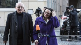 Social Democratic Party parliamentary group leader Andrea Nahles (SPD) (R) and Volker Kauder of the Christian Democratic Union (CDU), arrive at the German federal State of Bavaria representation building in Berlin, Germany, 03 January 2018. The leaders of CDU, CSU and SPD parties are set for another series of meetings to consider possible exploratory talks to form a new German government grand-coalition or GROKO. EPA, OMER MESSINGER