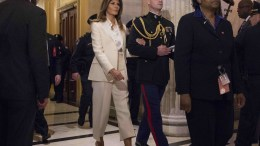 US First Lady Melania Trump (C-L) departs at the conclusion of President Donald J. Trump's State of the Union Address at the House of Representatives in Washington, DC, USA, 30 January 2018. EPA, CHRIS KLEPONIS / POOL