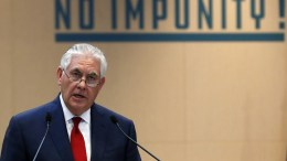 US Secretary of State Rex Tillerson delivers a speech during a meeting on the International Partnership against Impunity for the Use of Chemical Weapons, in Paris, France. EPA, IAN LANGSDON