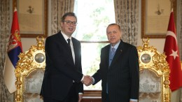 A handout photo made available by the Turkish Presidential Press Office shows Turkish President Recep Tayyip Erdogan (R) shaking hands with Serbian President Aleksandar Vucic (L) during their meeting in Istanbul, Turkey, 29 January 2018. EPA, TURKISH PRESIDENTAL PRESS OFFICE HANDOUT, EDITORIAL USE ONLY