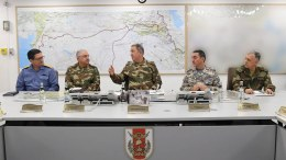 A handout photo made available by the Turkish Armed Forces shows Turkish Chief of Staff General Hulusi Akar (C), Turkish Land Forces Commander Yasar Guler (2-L), Turkish Naval Forces Commander Adnan Ozbal (L), Turkish Air Forces Commander Hasan Kucukakyuz (2-R) and Turkish Chief General Umit Dundar (R), during a press conference on operation to Syria's Afrin district in Ankara, Turkey, 20 January 2018.  EPA, TURKISH ARMED FORCES  HANDOUT, EDITORIAL USE ONLY