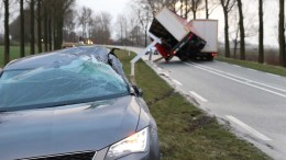 A lorry and a damaged car following the strong winds of the western storm in Kampen, The Netherlands, 18 January, 2018, during the second western storm of the year. The Royal Netherlands Meteorological Institute (KNMI) has issued a code red for the storm that is expected to bring wind speeds up to 140 kph. EPA/GINOPRESS B.V.