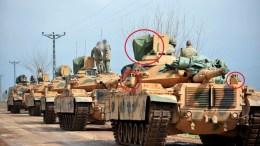Η φωτογραφία με τα τουρκικά τανκσ. Photo via https://syria.liveuamap.com/