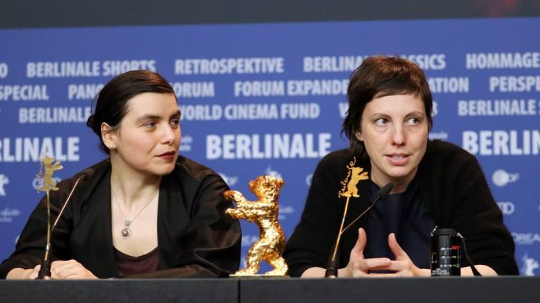 Romanian director Adina Pintilie (R) with her Golden Bear for Best Film for Touch Me Not speaks next to Bulgarian actress Irmena Chichikova (L) at a press conference of the Closing and Awards Ceremony of the 68th annual Berlin International Film EPA,HAYOUNG JEON
