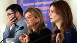 FILE PHOTO. Η υπουργός Εργασίας Κοινωνικής Ασφάλισης και Κοινωνικής Αλληλεγγύης  Έφη Αχτσιόγλου και η αναπληρώτρια υπουργός Ράνια Αντωνοπούλου στο 8ο Περιφερειακό Συνέδριο για την Παραγωγική Ανασυγκρότηση. ΑΠΕ-ΜΠΕ, ΟΡΕΣΤΗΣ ΠΑΝΑΓΙΩΤΟΥ