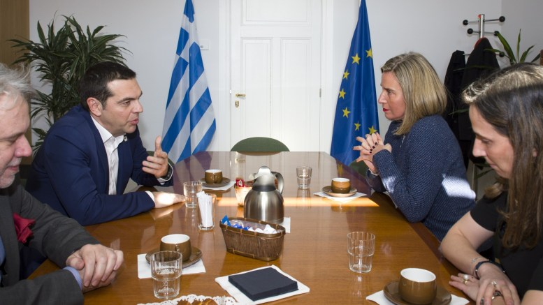 Mr Alexis TSIPRAS, Greek Prime Minister; Ms Federica MOGHERINI, High Representative of the EU for Foreign Affairs and Security Policy. Shoot location: Bruxelles - BELGIUM  Shoot date: 23/02/2018  Copyright: European Union