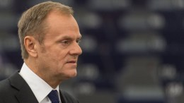 File Photo: President of the European Council, Donald Tusk, delivers his speech at the European Parliament in Strasbourg, EPA, PATRICK SEEGER