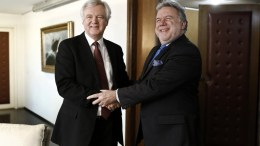 File Photo: Greek Alternate Minister of Foreign Affairs George Katrougalos (R) shakes hands with the British Secretary of State for Exiting the European Union David Davis (L) during their meeting in Athens, Greece. EPA, YANNIS KOLESIDIS