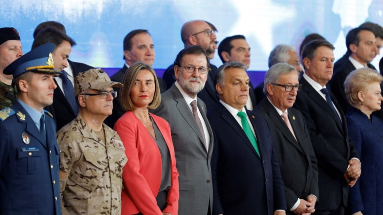 File photo: Picture of 24 heads of state members of Defense Permanent Structured Cooperation (PESCO) during European Council meeting in Brussels, Belgium. EPA, DIEGO CRESPO, Spanish Government Presidency