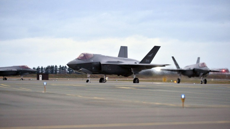 File Photo: One of the F-35 fighter jets ordered by Norway arrives in Orland air base. EPA, Ned Alley