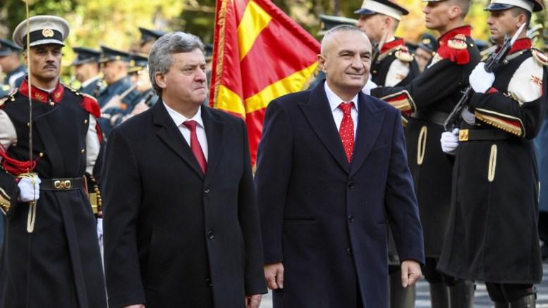 File Photo: Albanian President Ilir Meta (R) is accompanied by his Fyromian counterpart George Ivanov (L) as they inspect a honor guard in Skopje, The FYROM. EPA, GEORGI LICOVSKI