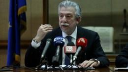 Ο υπουργός Δικαιοσύνης Σταύροs Κοντονής δίνει συνέντευξη Τύπου στους διαπιστευμένους συντάκτες του υπουργείου.  ΑΠΕ-ΜΠΕ, ΟΡΕΣΤΗΣ ΠΑΝΑΓΙΩΤΟΥ