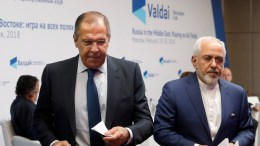 Iranian Foreign Minister Mohammad Javad Zarif (R) and Russian Foreign Minister Sergei Lavrov (L) leave a session of the Valdai Discussion Club entitled 'Russia in the Middle East: Playing on All Fields', in Moscow, Russia, 19 February 2018. EPA, SERGEI CHIRIKOV