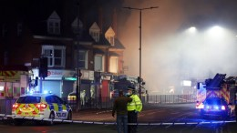 Members of the emergency services at the scene of the explosion which destroyed a property in Hinckley Road, Leicester, East Midlands, Britain, 25 February 2018. A 'major incident' has been declared by police after reports of an explosion in Leicester in which four people have been taken to Leicester Royal Infirmary hospital. EPA,TIM KEETON