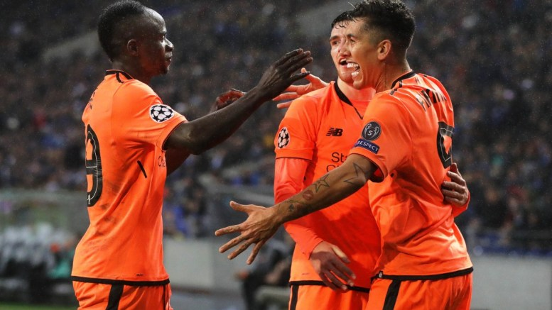 Liverpool's Roberto Firmino (R) celebrates with his teammates. FILE PHOTO, EPA, JOSE COELHO