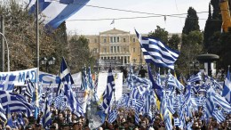 Protesters hold Greek flags and shout slogans during a massive rally over the name of the Former Yugoslav Republic of Macedonia (FYROM) against to its use of the name 'Macedonia' amid a revival of efforts to find a solution between the two countries, in Athens, Greece, 04 February 2018. EPA, ALEXANDROS VLACHOS