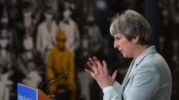 FILE PHOTO. British Prime Minister Theresa May delivers a speech to students and staff during her visit to Derby College in Derby, East Midlands, Britain. EPA,FACUNDO ARRIZABALAGA,  POOL