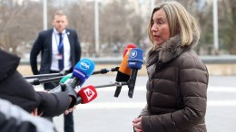 A handout photo made available by the Bulgarian Presidency of the EU Council 2018 (EU2018BG) shows Federica Mogherini (R), the High Representative of the EU for Foreign Affairs and Security Policy, speaking to journalists upon arriving at the Informal Meeting of Foreign Affairs Council (Gymnich) at the National Palace of Culture in Sofia, Bulgaria, 15 February 2018. EPA, KIRIL KONSTANINOV, EU2018BG HANDOUT HANDOUT EDITORIAL USE ONLY, NO SALES