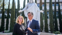 File Photo: US former Governor of Massachusetts Mitt Romney (R) and his wife Ann Romney pose as they attend the press presentation of the newly constructed Mormon temple of the Church of Jesus Christ of Latter Day Saints in Le Chesnay, west of Paris, in 07 March 2017. EPA, CHRISTOPHE PETIT TESSON