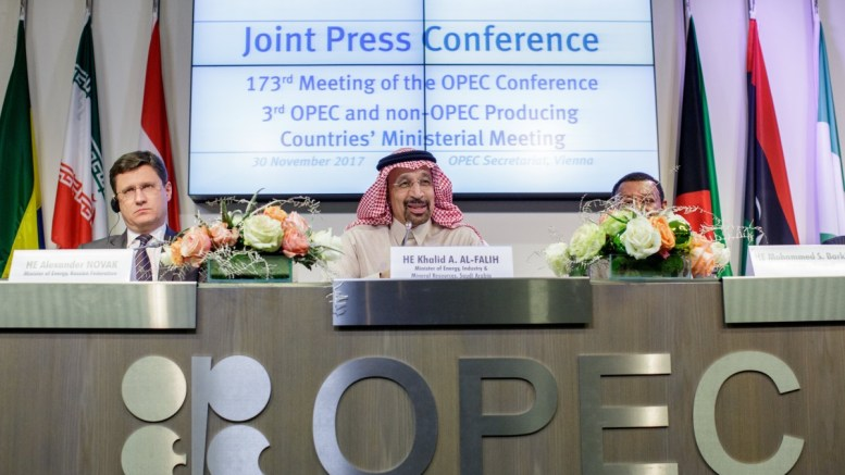 File photo: Alexander Novak, Russia's energy minister, Khalid Al-Falih, Saudi Arabia's energy minister and Aramco president and Mohammed Barkindo, Opec Secretary General at the OPEC headquarters in Vienna, Austria. EPA, LISI NIESNER