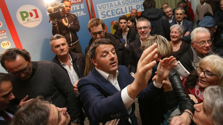 FILE PHOTO. The leader of the Italian 'Partito Democratico' (Democratic Party / PD) , former Italian Prime Minister Matteo Renzi (C) is surrounded while attending an electoral meeting in Siena, Italy. EPA, FABIO DI PIETRO