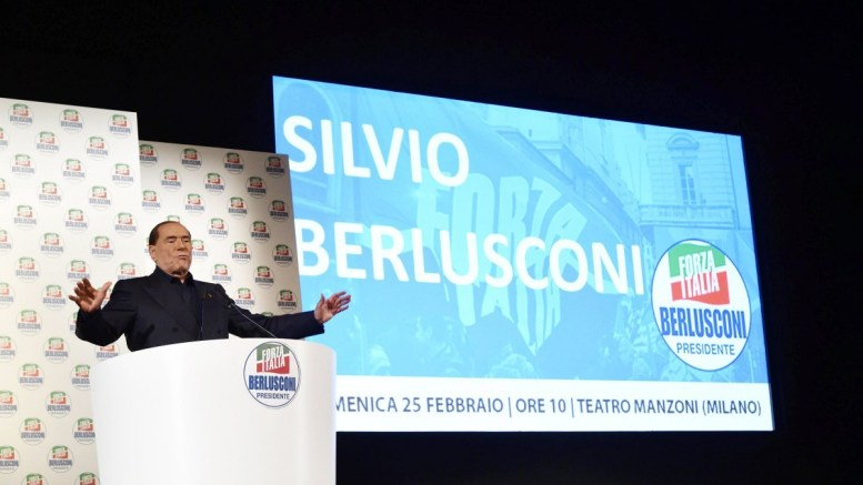 Former Italian premier Silvio Berlusconi delivers a speech during during a Fora Italia party electoral event in Milan, Italy, 25 February 2018. Leaders of Italian political parties are campaigning for the 04 March general election. EPA, FLAVIO LO SCALZO