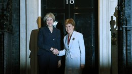 FILE PHOTO. Britain's Prime Minister Theresa May (L) greets Scotland's First Minister, Nicola Sturgeon (R) on the steps of 10 Downing street in central London, Britain. EPA, FACUNDO ARRIZABALAGA