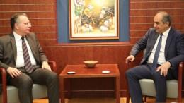 Ο Πρόεδρος της Βουλής των Αντιπροσώπων, κ. Δημήτρης Συλλούρης δέχεται τον Βουλευτή της Νέας Δημοκρατίας κ. Γιώργο Κουμουτσάκο, Λευκωσία 22 Φεβρουαρίου 2018. ΓΤΠ, Χ.ΑΒΡΑΑΜΙΔΗΣ, KYΠΕ