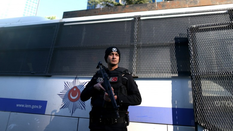 File Photo - A Turkish police secure the area during a protest in front of the Israeli consulate in Istanbul - EPA, ERDEM SAHIN